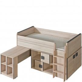 Łóżko Gumi z biurkiem i regałem G19 (dąb santan/popiel)- Dolmar