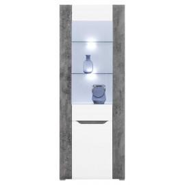 Witryna L/P BRANDO B-5 biały,beton,biały połysk -Bogfran